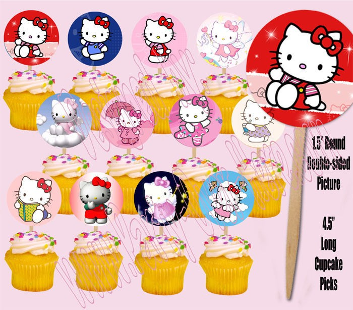 Hello Kitty Sanrio Cupcake Picks Cake Toppers  12 pcs