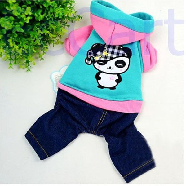 Pet Dog Clothes Panda Apparel Warm Sweater Denim Jeans Pants Outfits