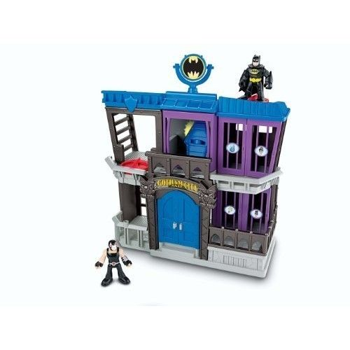 Imaginext GOTHAM CITY JAIL DC Super Friends Batman Bane 2 Figures Jail