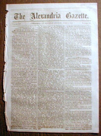 Civil War Newspaper Grant vs Lee Battle of Cold Harbor Virginia
