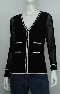 NEW AK ANNE KLEIN WOMENS CARDIGAN BLACK SWEATER M